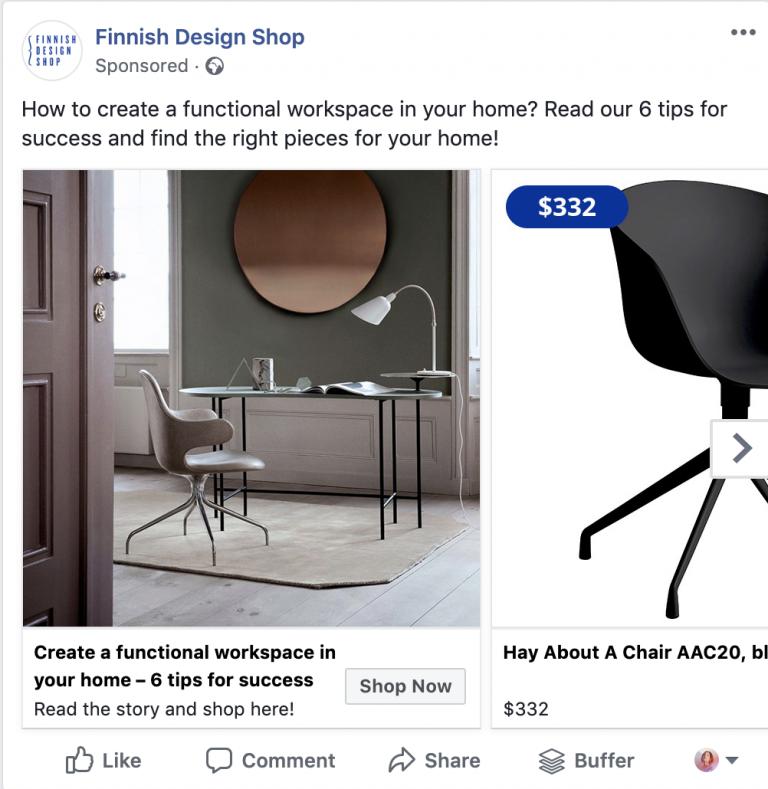 Screen shot of sample Facebook ad campaign