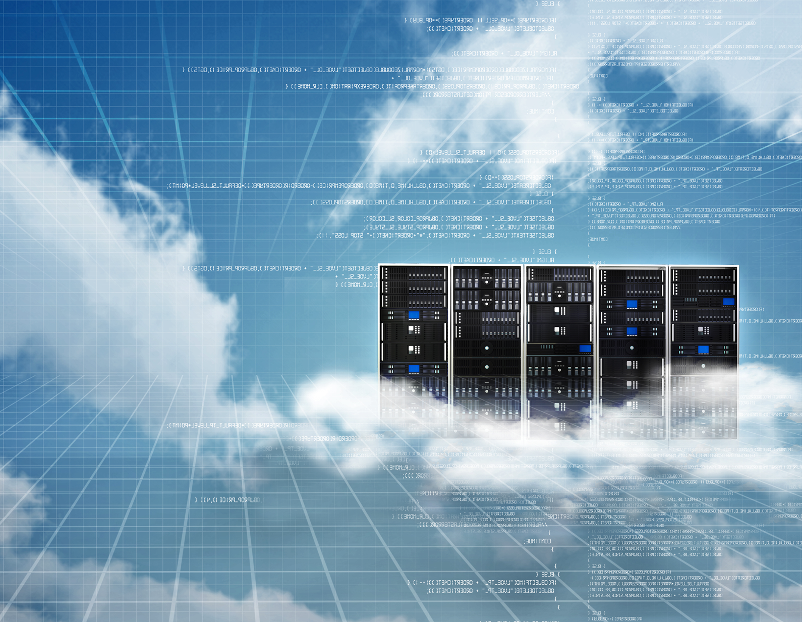 Photo of 5 computer servers floating in the clouds
